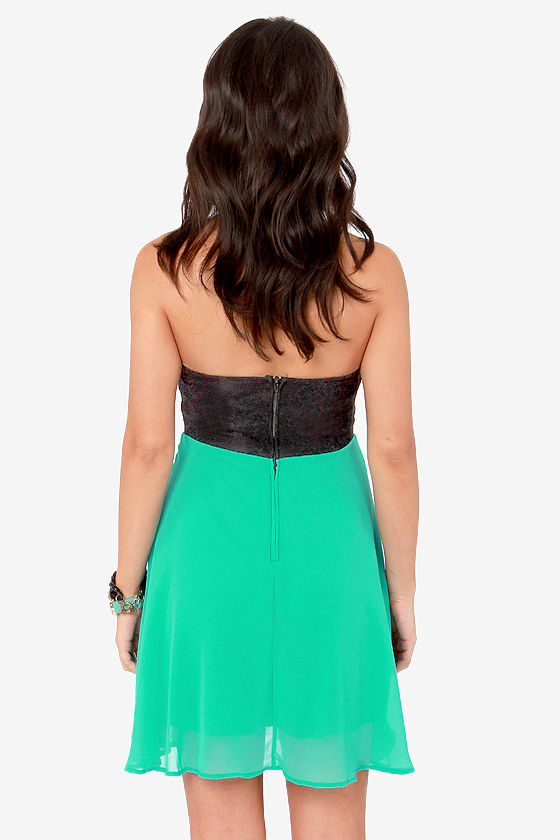Ta-ra-ra Bustier! Black and Sea Green Dress at Lulus.com!