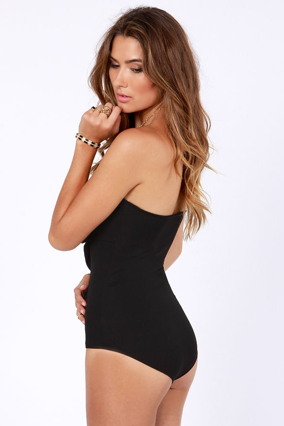That's the Way Love Bows Strapless Black Bodysuit at Lulus.com!