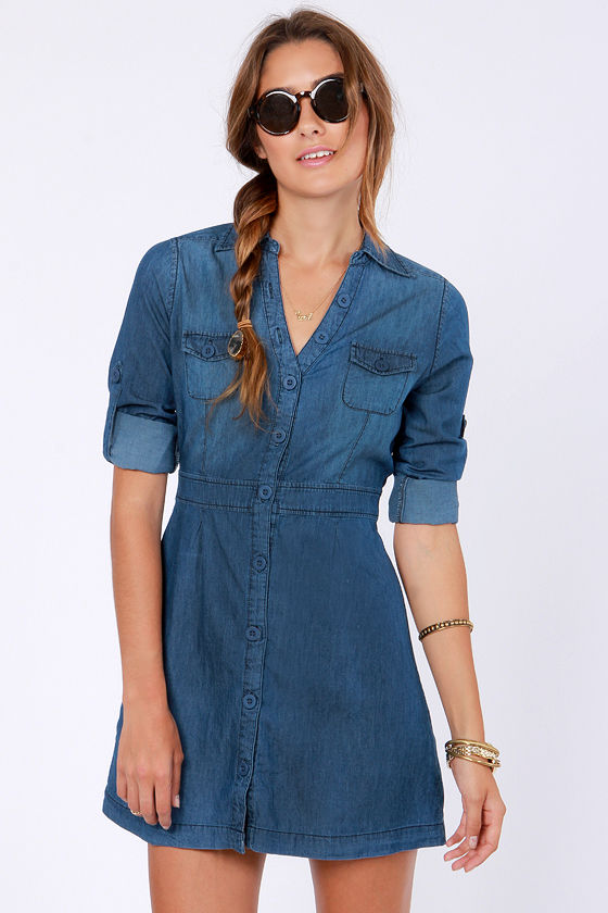 O. M. Jean Denim Shirt Dress at Lulus.com!