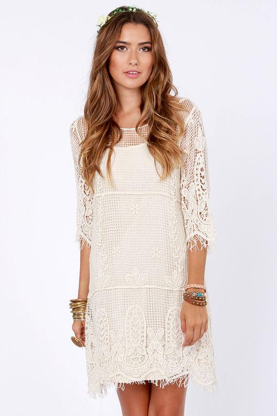 f1590d21ef9 Pretty Cream Dress - Crochet Dress - Shift Dress -  72.00