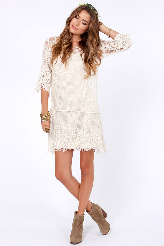 Pretty Cream Dress Crochet Dress Shift Dress 7200