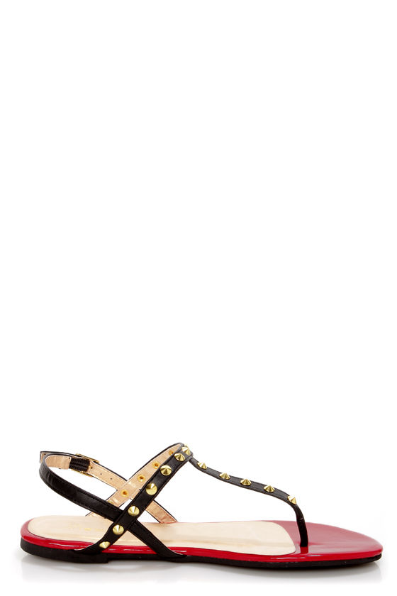 Promise Top Black Studded T-Strap Thong Sandals at Lulus.com!