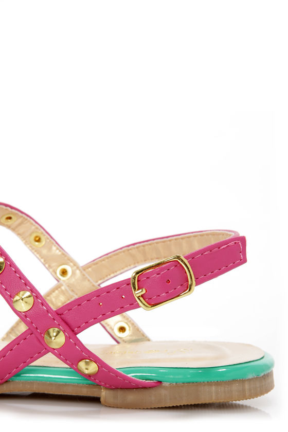 Promise Top Fuchsia Studded T-Strap Thong Sandals at Lulus.com!