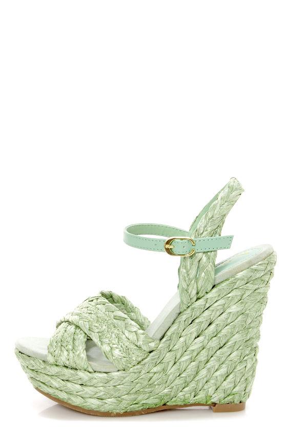 1ff9ac82a80 Mia Stella Seafoam Raffia Braided Wedge Sandals -  65.00
