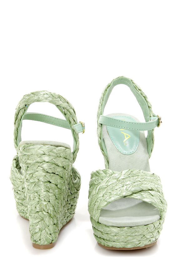 Mia Stella Seafoam Raffia Braided Wedge Sandals at Lulus.com!
