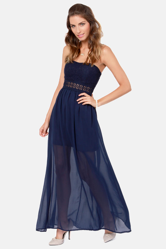 Many a Muse Strapless Navy Blue Maxi Dress at Lulus.com!