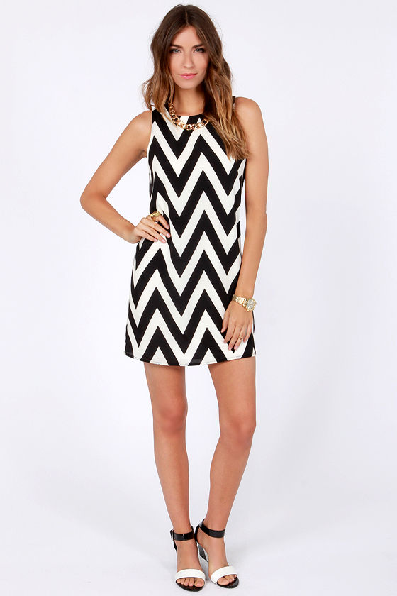 Chev Republic Black Chevron Print Dress at Lulus.com!