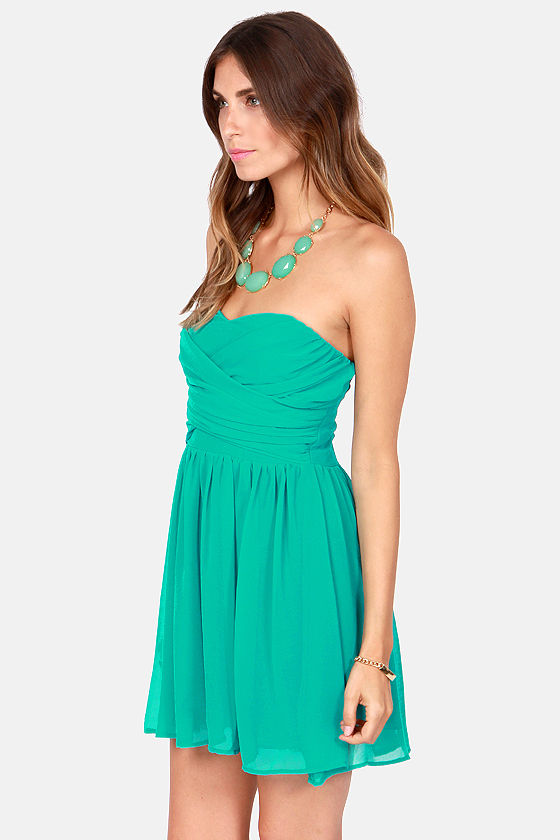 LULUS Exclusive Sash Flow Strapless Teal Dress at Lulus.com!