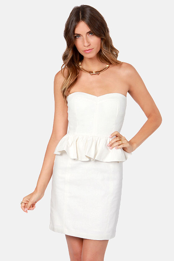 Aryn K Pep it Up Strapless Ivory Peplum Dress at Lulus.com!