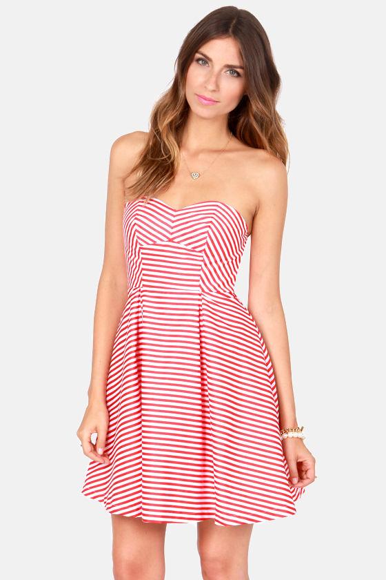 b566d48b41b Cute Red and White Dress - Striped Dress - Strapless Dress -  75.00