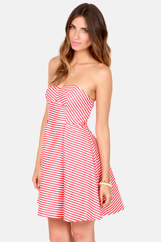 Cute Red and White Dress - Striped Dress - Strapless Dress - $75.00