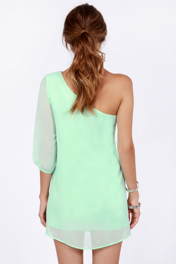 C'mon Get Happy One Shoulder Ice Mint Dress at Lulus.com!