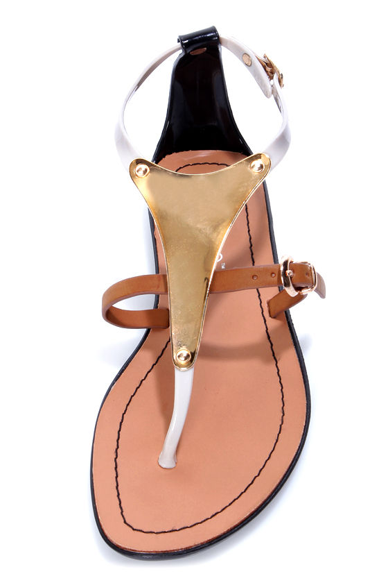 Abeni Black and Beige Jelly Gold Plated Thong Sandals at Lulus.com!