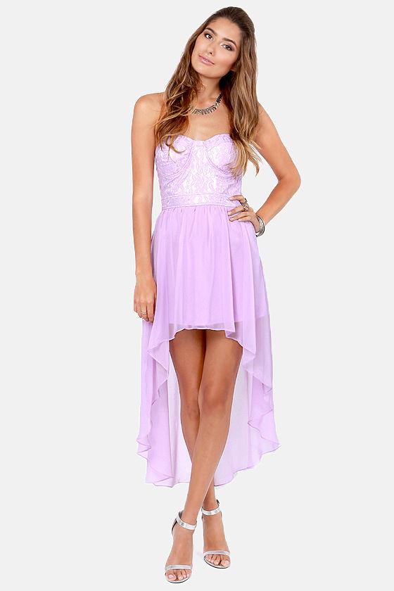 Lovely Strapless Dress - Lavender Dress - Lace Dress - High-Low ...