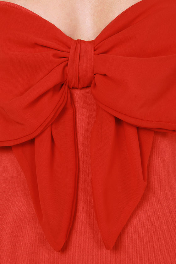 That's the Way Love Bows Strapless Red Bodysuit at Lulus.com!