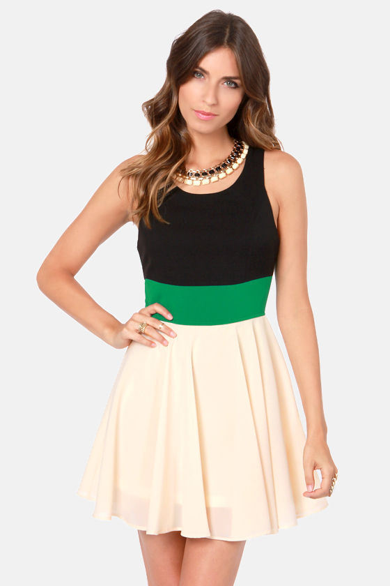 Three-sy Does It Black, Green, and Cream Dress at Lulus.com!