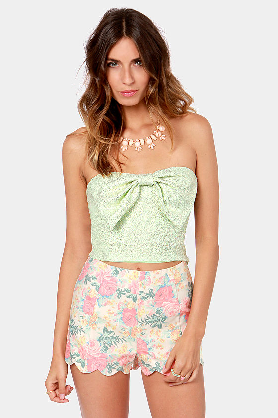 Fleck it Out Mint Green and Gold Tube Top at Lulus.com!