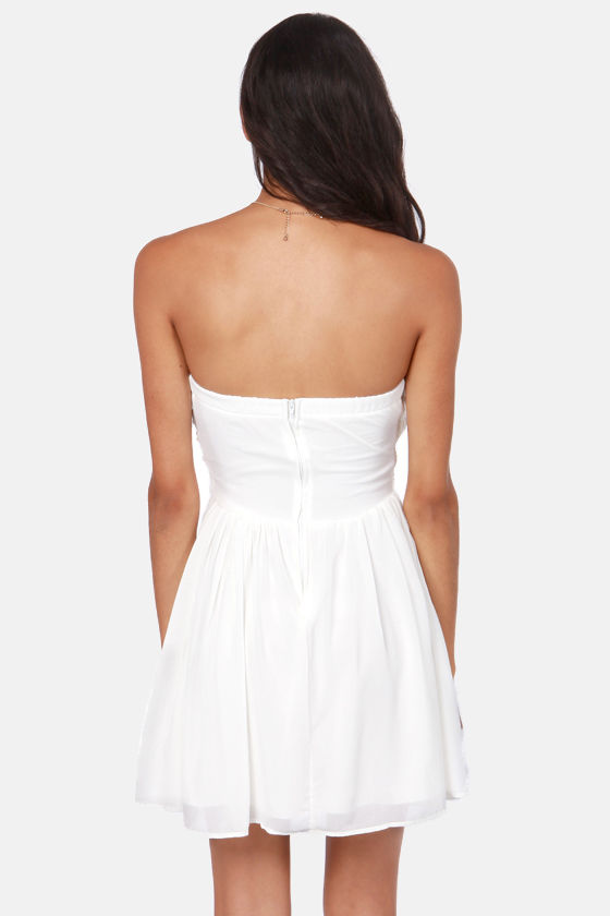 LULUS Exclusive Sash Flow Strapless Ivory Dress at Lulus.com!