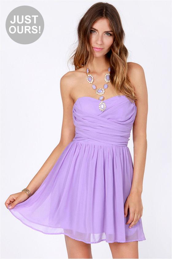 Lovely Strapless Dress - Lavender Dress - Party Dress - $49.00