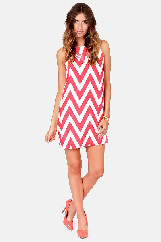 Chev Republic Coral Pink Chevron Print Dress at Lulus.com!