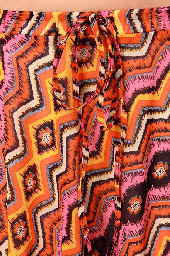 Prairie Sunset Orange Print Maxi Skirt at Lulus.com!