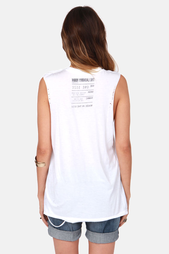Laundry Room Thrasher Distressed White Muscle Tee at Lulus.com!
