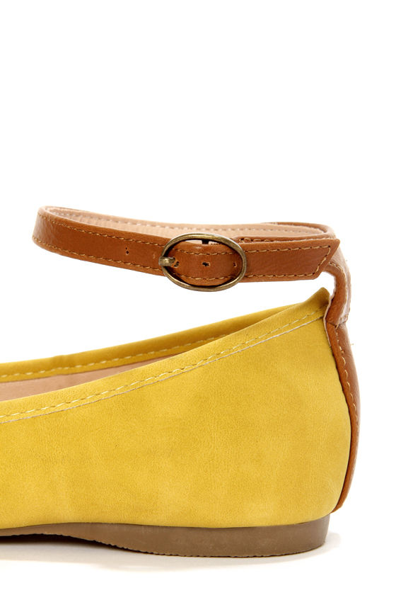 Mixx Shuz Regan Mustard Nubuck Ankle Strap Pointed Flats at Lulus.com!