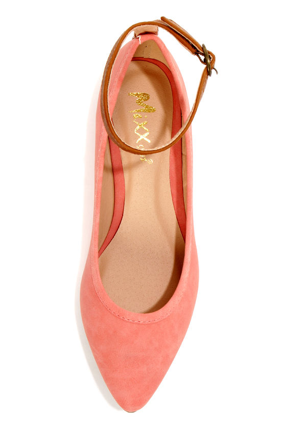 Mixx Shuz Regan Coral Nubuck Ankle Strap Pointed Flats at Lulus.com!
