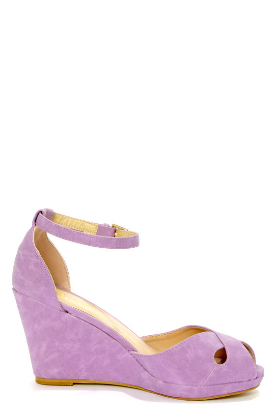 Mixx Shuz Donna Lilac Peep Toe Wedge Sandals at Lulus.com!