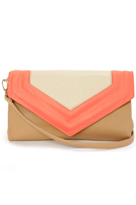 On My Side Brown and Neon Coral Purse at Lulus.com!