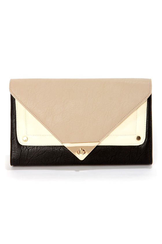 Dessert Storm Taupe and Black Clutch at Lulus.com!