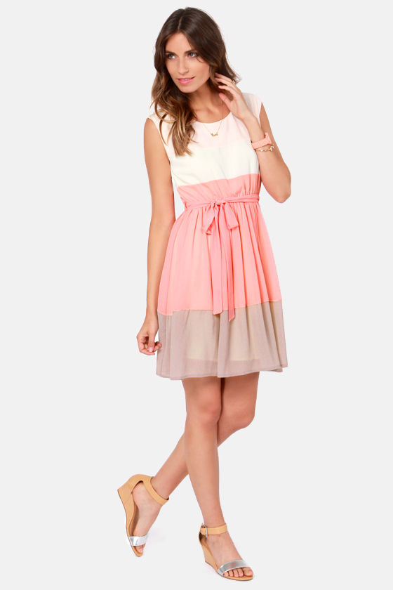Peaches Flambe Peach Color Block Dress at Lulus.com!