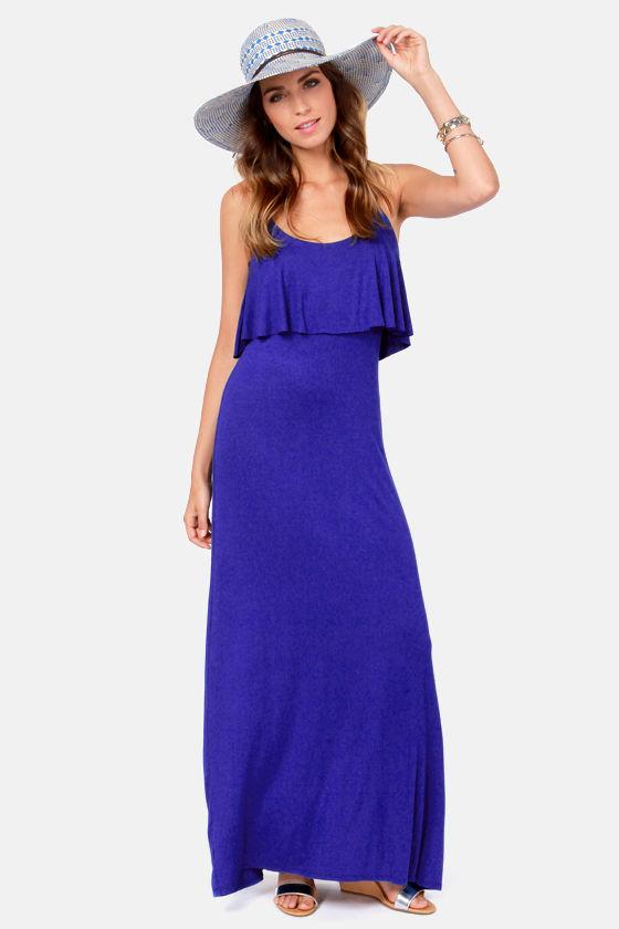 - Cute Royal Blue Dress - Maxi Dress - Jersey Knit Dress - $43.00
