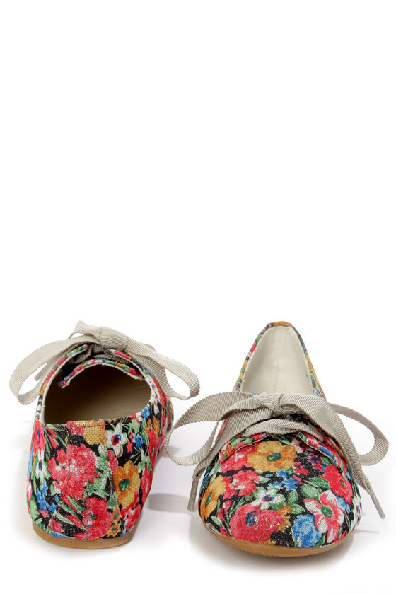 Not Rated Anita Multi Glitter Floral Lace-Up Flats at Lulus.com!