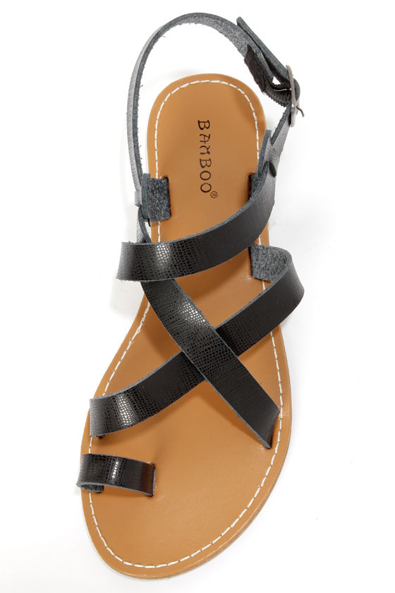 Bamboo Warner 14 Black Strappy Gladiator Sandals at Lulus.com!
