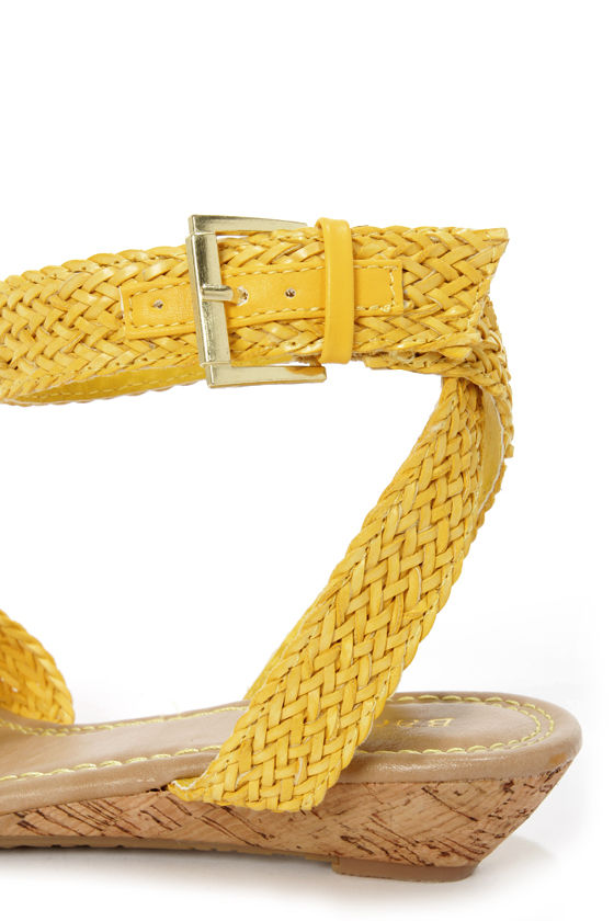 Bamboo Dalinda 15 Yellow Woven Wedge Sandals at Lulus.com!