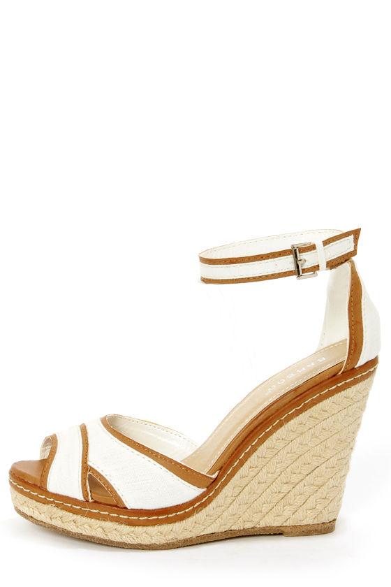 d3eb37b57b45 Bamboo Pinot 08 White Canvas Peep Toe Wedge Sandals -  34.00