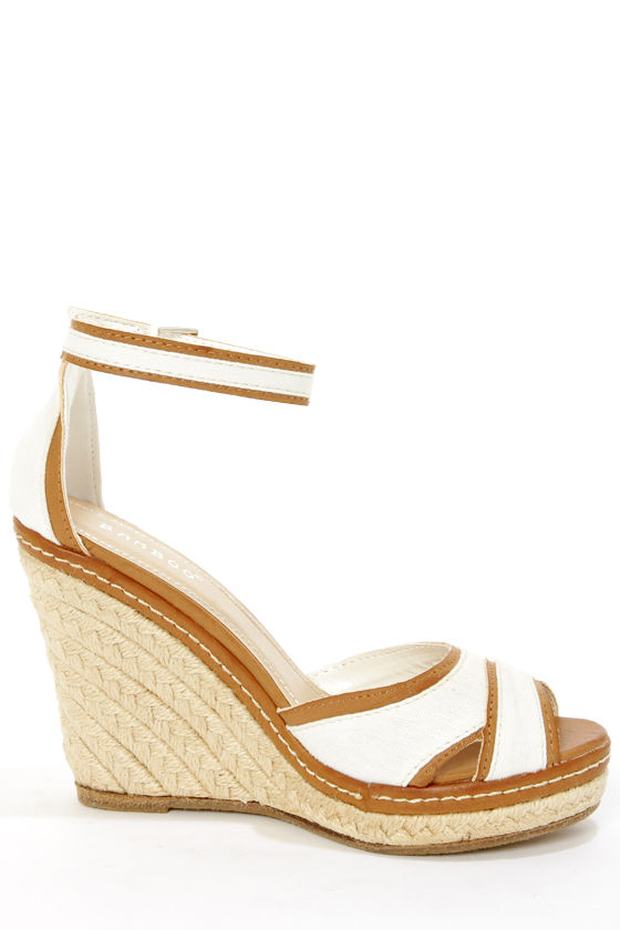 Bamboo Pinot 08 White Canvas Peep Toe Wedge Sandals at Lulus.com!