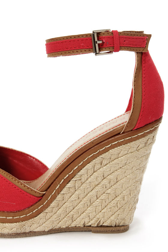 Bamboo Pinot 08 Red Canvas Peep Toe Wedge Sandals at Lulus.com!
