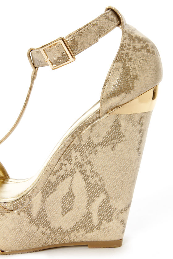 My Delicious Twice Gold Snakeskin T-Strap Platform Wedges at Lulus.com!