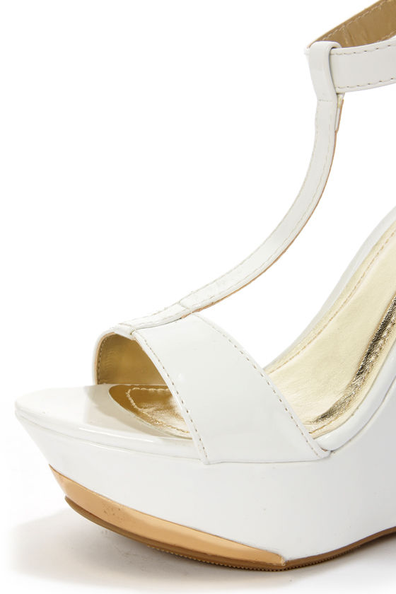 My Delicious Twice White Patent T-Strap Platform Wedges at Lulus.com!