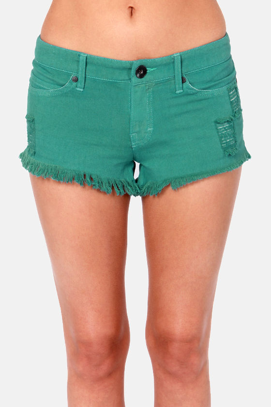 Rhythm Obsession Distressed Teal Jean Shorts at Lulus.com!