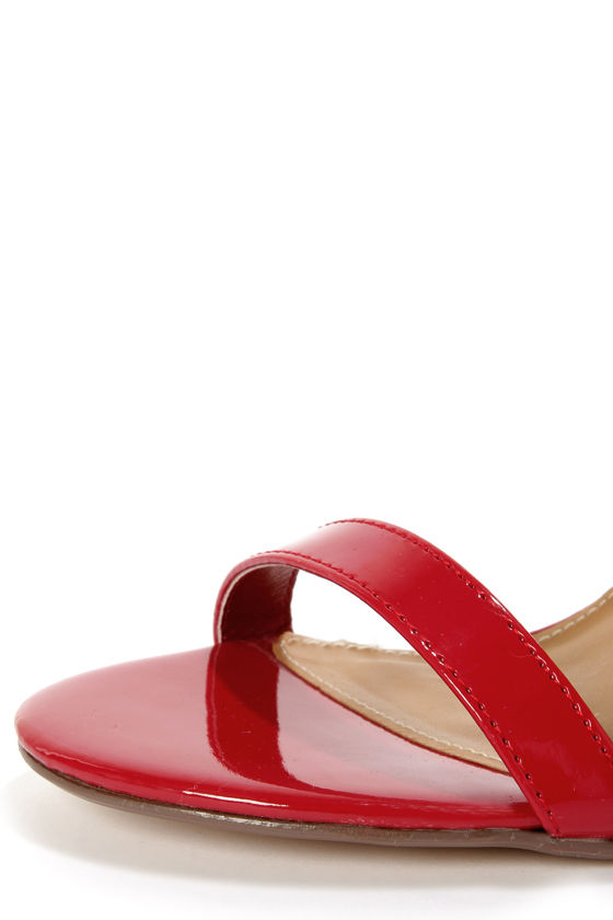 My Delicious Chacha Lipstick Red Patent Single Strap High Heels at Lulus.com!