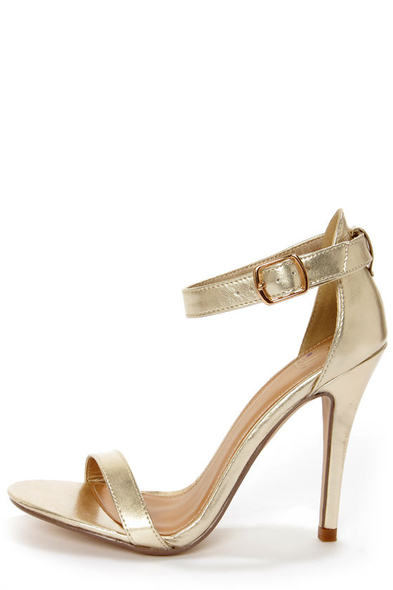 My Delicious Chacha Light Gold Metallic Single Strap High Heels at Lulus.com!