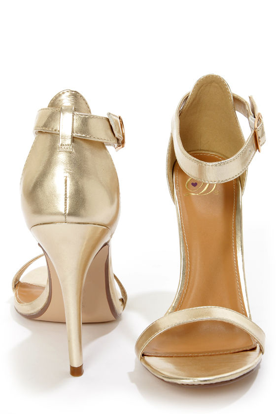 My Delicious Chacha Light Gold Metallic Single Strap High Heels ...