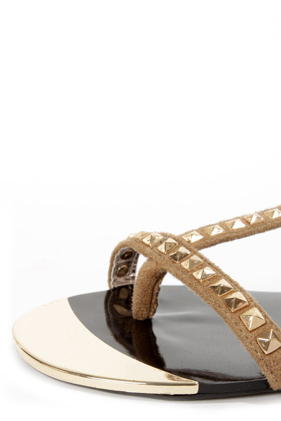 Paprika Ramada Light Taupe Suede Studded T-Strap Thong Sandals at Lulus.com!