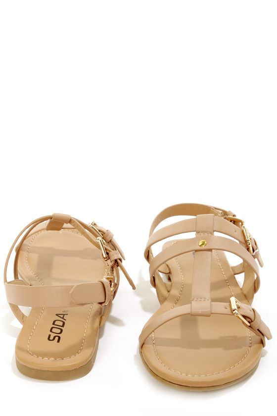 Soda Gotcha Natural T-Strap Gladiator Sandals at Lulus.com!