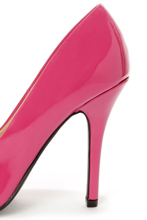 My Delicious Date Fuchsia Patent Pointed Pumps at Lulus.com!