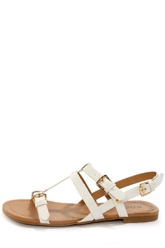 Soda Gotcha White T-Strap Gladiator Sandals at Lulus.com!