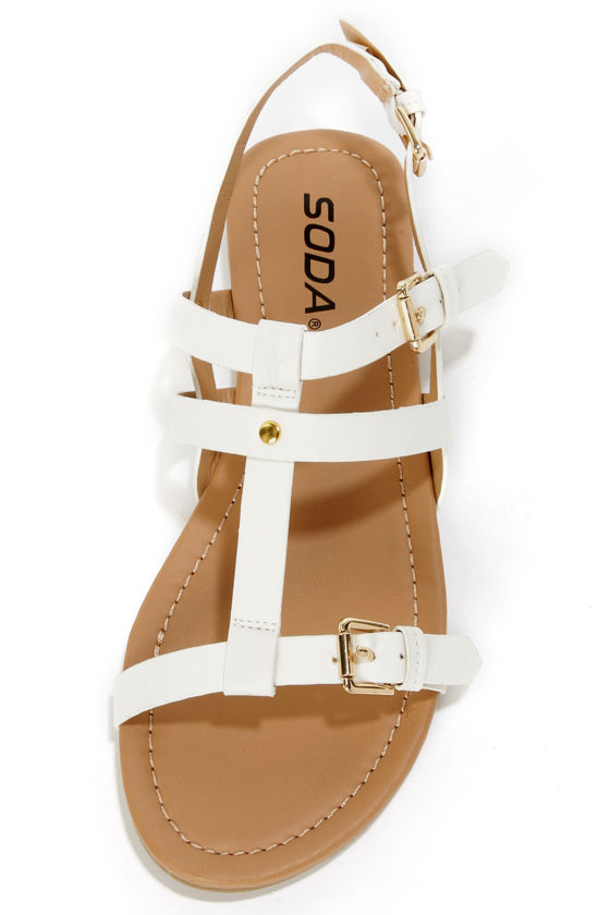 Soda Gotcha White T-Strap Gladiator Sandals at Lulus.com!